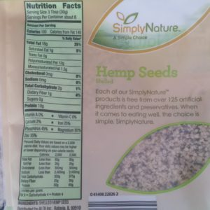 Hemp Seeds Nutrition Label