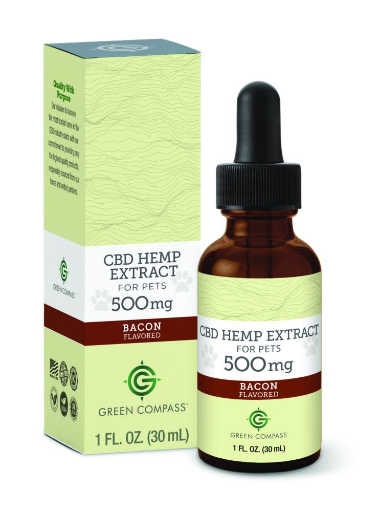 Green Compass Pet CBD 500 mg Bacon Flavor Bottle
